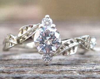 Forever One Moissanite Engagement Ring, Leaves Moissanite Engagement Ring, Art Deco Ring, 14K Gold Ring, Vintage Leaf Ring, Nature Ring Gift