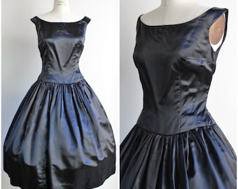 Vintage 1950s Black Silk Satin Dress / 50s Fit And Flare New Look Cocktail Dress / Evening Wear Party Dress / Ballerina Style