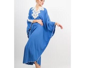 Cotton gauze caftan / Vintage 1970s blue crinkle gauze and crochet maxi dress