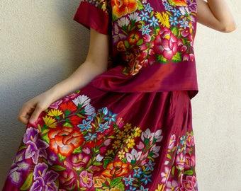 Collectors Tehuana satin tejido embroidered Traje Costume ANTIQUE Floral boho Frida Kahlo Oaxaca Mexico - medium