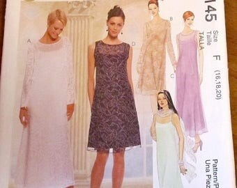 Evening Elegance Sewing Pattern McCall's 9145 Slip Dress, Maxi Gown, Scarf, Womens Misses Size 16 18 20 Bust 38 40 42 Uncut Factory Folds