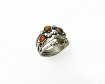 Silver red opal ring. sterling silver ring. Red stones silver ring. Opal ring. Opal silver ring. Wide opal ring. Wide ring.(sr10019-1570)