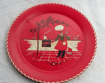 Large Red Decorative Kitchen Chef Tray Platter