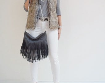 Dark Gray Leather Fringe Bag