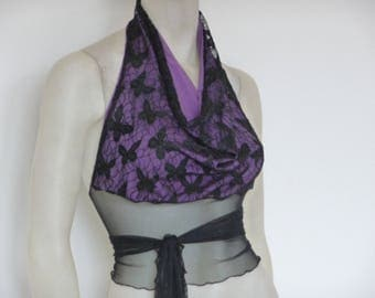 Lace Top in black & purple Tango Halter Cowl Neck Top fits  US 0 to 4  Dancewear Evening Top Tango Chamise Milonga