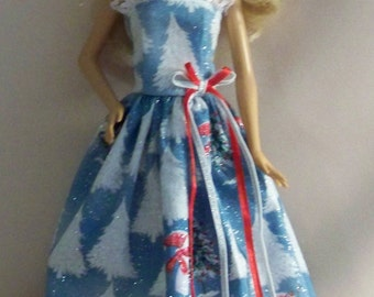 Handmade Barbie Clothes-Blue Christmas Print with White GlitterTrees and Snowmen Barbie Gown