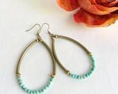 Turquoise hoop earrings, boho chic gemstone earrings, bead earrings, turquoise stone jewelry, boho jewelry, bead statement earrings, rustic