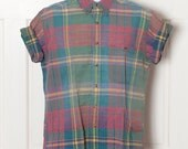 Vintage 90s Colorful Mens Plaid Short Sleeve Button Down - INTERNATIONAL WATERS - M