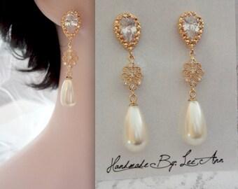 Pearl earrings - Gold, pearl drop earrings - Cubic Zirconias ~ 14k gold posts - Swarovski pearls ~ Brides earrings ~ ELIZABETH