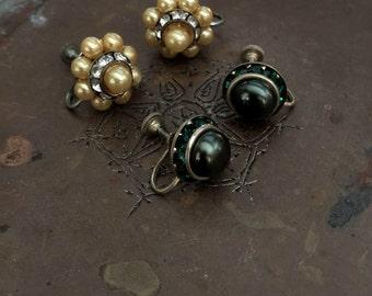 Vintage 1950's Screw Back Earrings, Set of 2 Screw Back Earrings, Vintage Earrings, Retro, Mod, Mad Men
