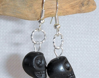 Halloween Earrings Skull Earrings Black Skull Pierced Dangle Earrings Black Ceramic Skull Earrings for Halloween or Any Time Silver & Black
