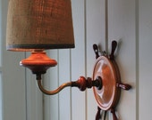 Vintage Wood Boat Wheel Wall Lamp // Nautical Lamp // Aged Patina // Burlap Shade