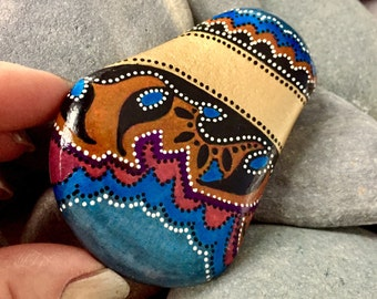 turquoise tapestry /painted stones / painted rocks / paperweights / rock art / boho art / bohemian / hippie art / small paintings / rocks