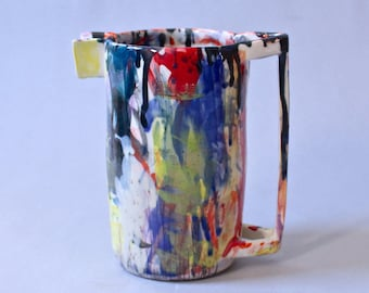 Wacky Pitcher Bright Rainbow Pitcher, Porcelain Pitcher Made to Order