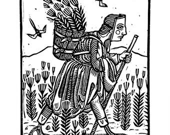 Migrant - Linoleum print on paper - Kathleen Neeley