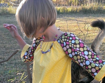 Boho Mustard Tunic | Boho Washed Cotton Polka Dotted Dress | Size 7 Dress | Ellie Ann and Lucy