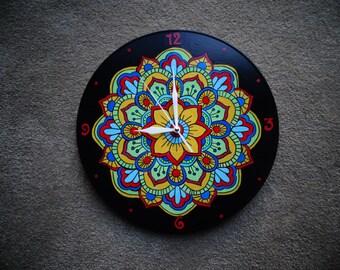 Hand Painted Vinyl Record Mandala Clock