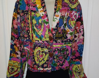 SANDY STARKMAN BLAZER // Super Colorful Heart Mixed Media Floral Wooden Buttons Size M Jacket 90's India Embroidered Valentine's Day Flwoers