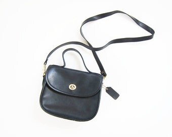 Coach Style Bag / Leather Crossbody Bag / Navy Blue Leather Purse / Top Handle Purse