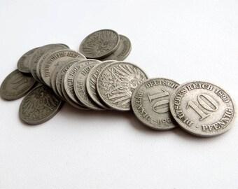 Deutsches Reich 10 Pfennig 1875 - 1915 Lot of 20 x 10 Pfennig 1875 A, 1876 A, 1889 A, 1891 E, 1892 E, 1896 G, 1899 A, 1900 J, 1902 A, 1903 J