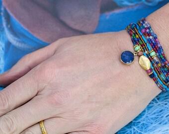 Sapphire Bracelet, Beaded Wrap Bracelet, Multi Wrap Bracelet, Agate Bracelet, Boho Bracelet, Stretch Bracelet, Charm Bracelet, Gemstone