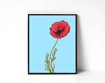 8x10 Art Print - Poppy Illustration - Wall Art - Office Art Print - Floral Illustration - Kitchen Wall Art - Flower Art - Home Decor