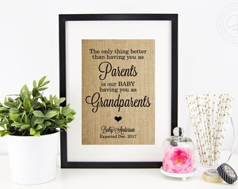 Pregnancy Announcement Burlap Print | Pregnancy Reveal to Grandparents, Grandparent Gift | The Only Thing Better Than Having You As Parents
