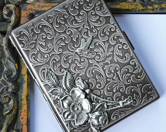 Rose Cigarette Case, Floral Cigarette Case , Metal Cigarette Case, Cigarette Cases for Women, Gifts for her, Gifts for smokers, metal wallet