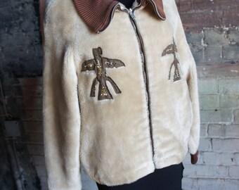 """TOTEM PATCHWORK 1950's """"Après-Ski"""" Fleece / Faux Fur Zip-Up Sweater Jacket , by The Hague Shirt"""