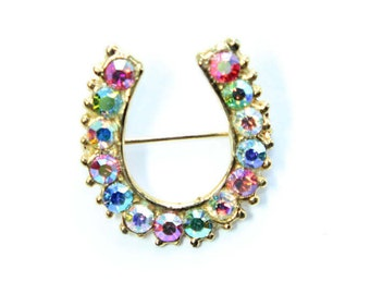 Gold Coloured Multi Coloured Rhinestone Diamante Lucky Horseshoe Vintage Brooch (c1950s) - Wedding