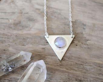 rainbow moonstone silver necklace /// sterling silver triangle necklace with  /// june birthstone
