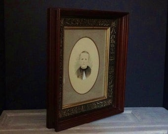 Antique Frame with Hand Colored Portrait / Late 1800's / Vinegar Painted Frame