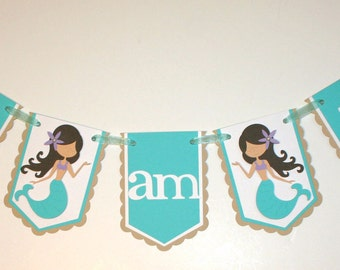 Mermaid Banner / Mermaid I am 1 Banner / Mermaid Highchair Banner
