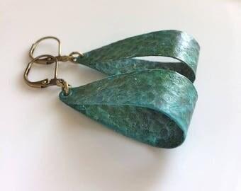 Small Hoop Earrings / Green Patina Earrings / Bohemian Earrings / Verdigris Patina / Boho / Gypsy Dangles