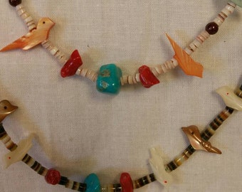 Old Pawn, Heishi Shell, Zuni Bird Necklaces, Double Strand, Coral Necklace, Estate Jewelry, Old Pawn (Item#38)