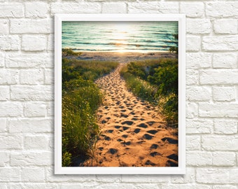 Beach printable art photography, Lake Michigan photograph, beach photo download, sunset print, beach wall art print, Michigan wall art decor
