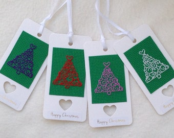 Christmas Tree Cross Stitch Gift Tags - Pack of 4