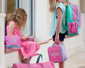 Pink Dottie Collection - Backpack, Lunch Tote, Duffel Bag, & Zip Pouch