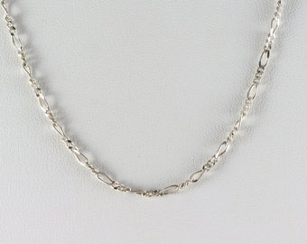 Sterling Silver Figaro Necklace 18 inch Chain