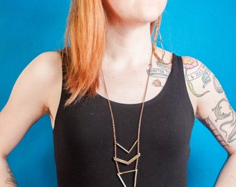 Long Geometric Necklace | Brass and Copper Triangle and Chevron Necklace | Statement Necklace