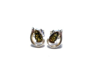 Amber earrings 925 Silver, amber ear plugs Sterling Silver earrings