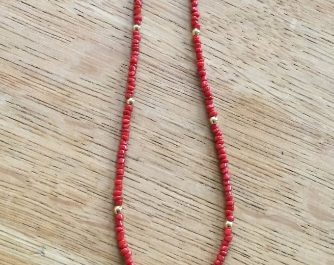 RAS of the neck in coral with a paved fatma hand pendant