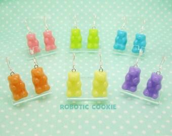Gummy Bear earrings polymer clay Sterling Silver