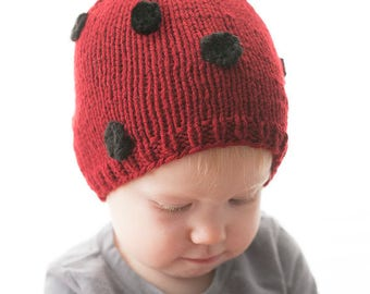 Little Ladybug Hat KNITTING PATTERN - ladybug insect knit hat pattern for babies, infants, toddlers - sizes 0-3 m, 6 m, 12 months, 2T+