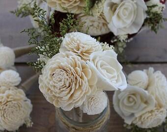 Cream Peti Sola Wood Bouquet, Natural Sola Flower Bouquet, Ivory Sola Bouquets, Small Wedding Bouquet, Nosegay, Mason Jar Centerpieces