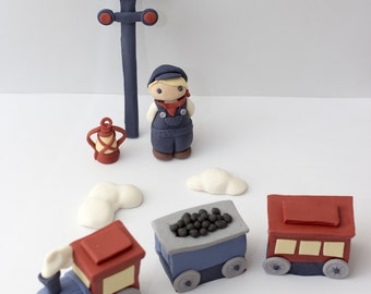 Fondant train cake toppers - See shipping section below for turnaround time