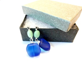 Sea Glass Earrings, Cobalt Blue Sea Glass Bead, Aventurine Gemstone Earring, Dangle Earring, Sea Glass Jewelry, Blue and Green Jewelry, Gift