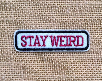 "Punk Patches for Jackets Stay Weird Iron On Patch 3"" Comic Rock Punk Band Geek Tumblr Retro Grunge Patches DIY Iron On Patches for Backpacks"