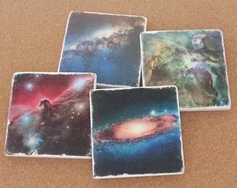 Set of 4 Tumbled Marble Tile Coasters - Space