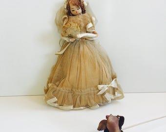Vintage Folk Art Bride Doll Handmade 1940s Wedding Gift